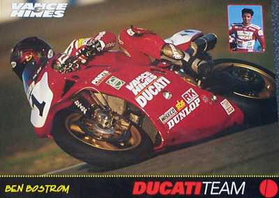 Ben Bostrom on the #1 Vance & Hines Ducati 916 Superbike poster