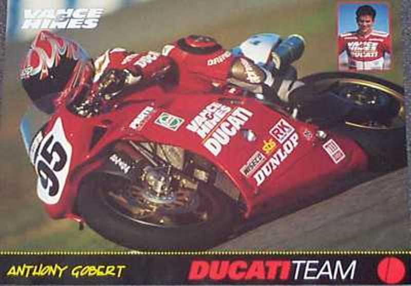 Anthony Gobert on the Ducati-Vance & Hines #95 Superbike poster