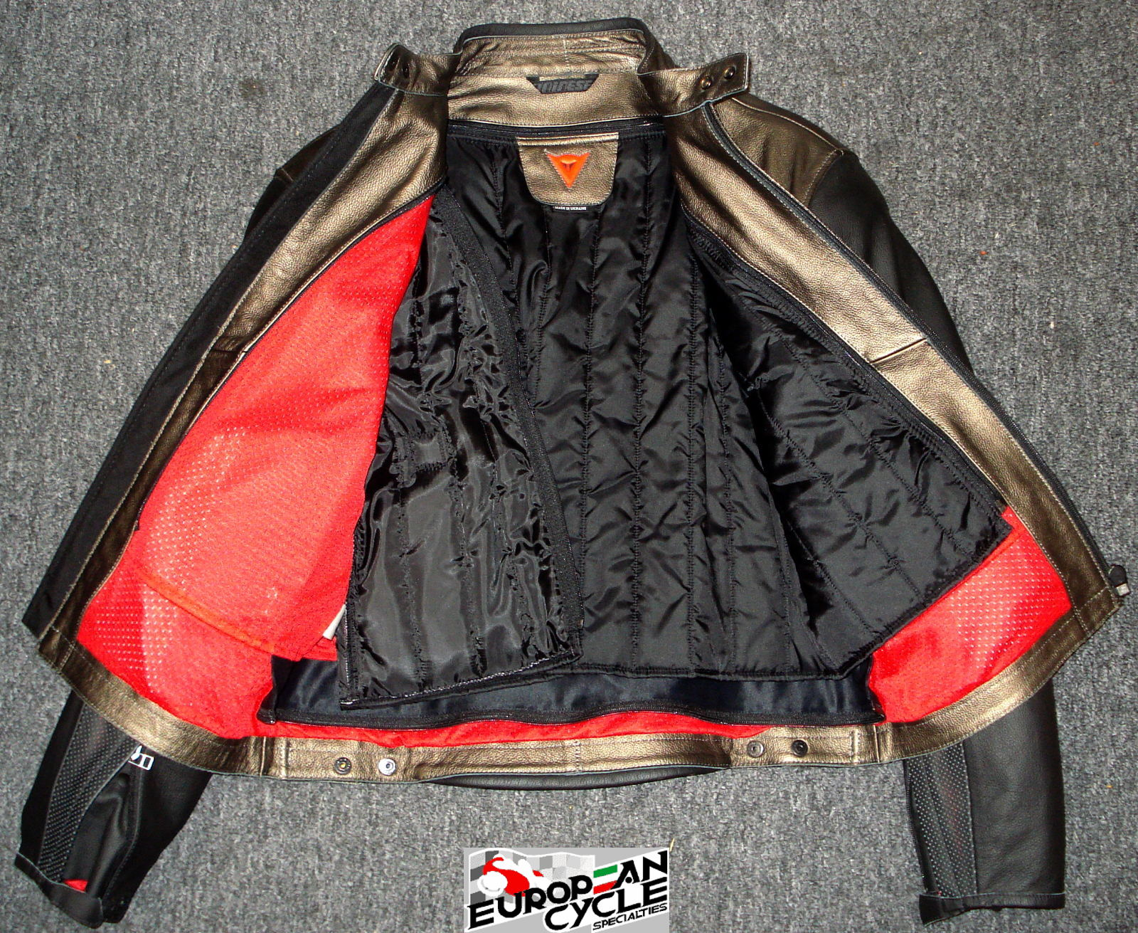 Dainese FREE leather Motorcycle Jacket, black & silver removable linning