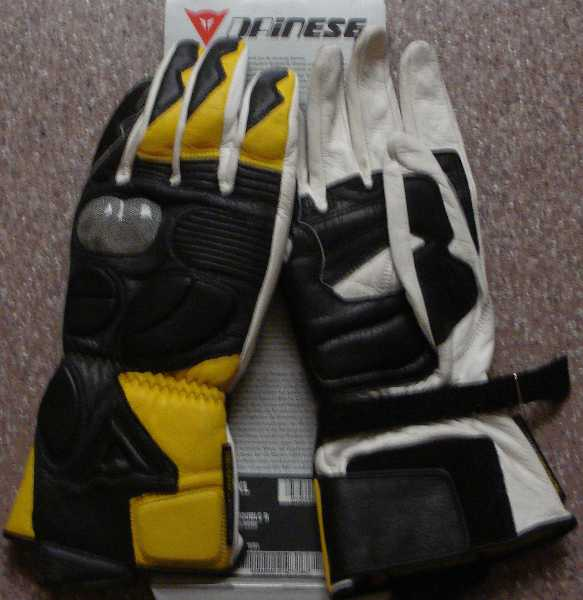 Dainese Guanto Hellfire Yellow leather motorcycle gloves