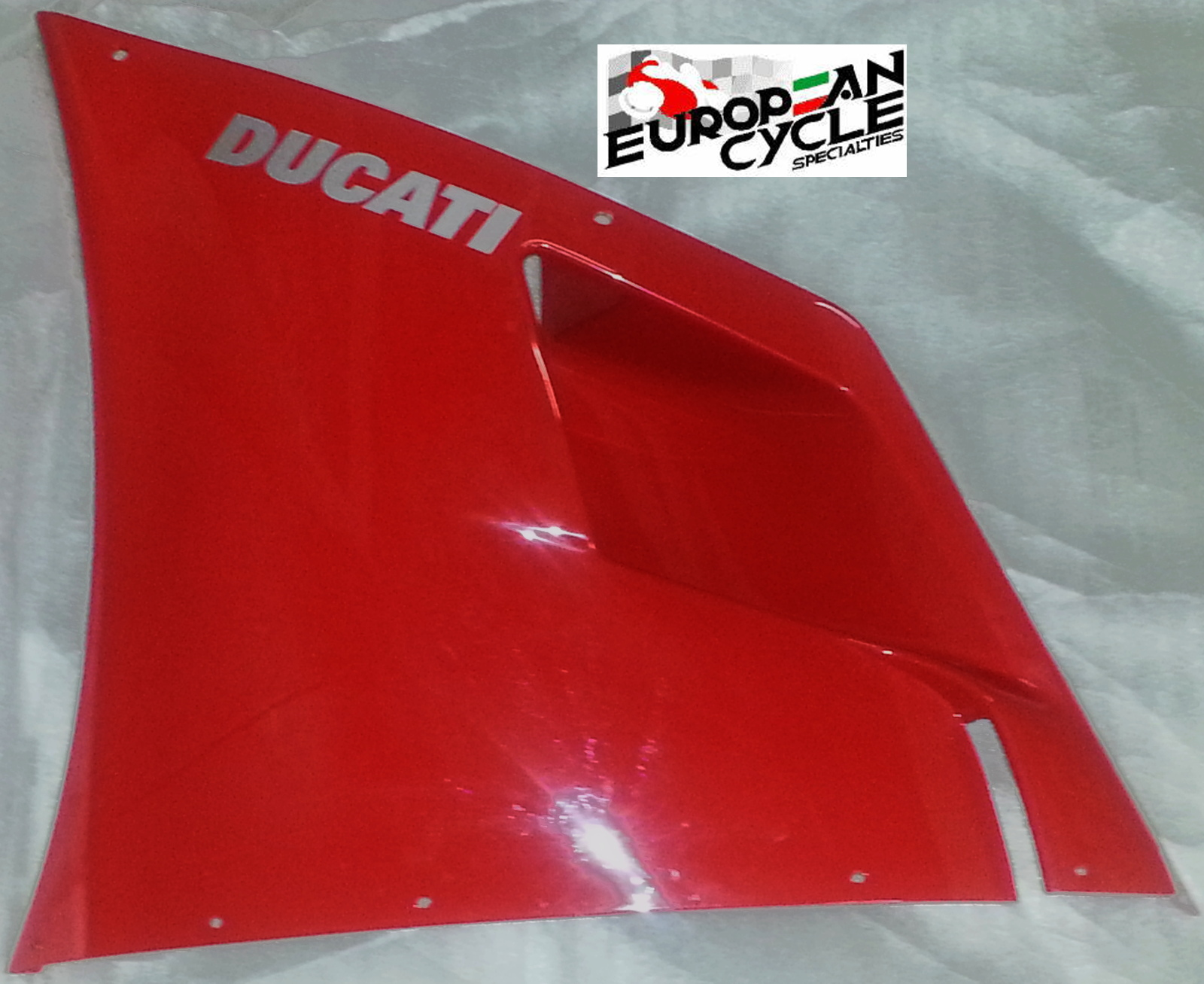 OEM Ducati 748 left upper fairing in red with silver Ducati block lettering 48010391A