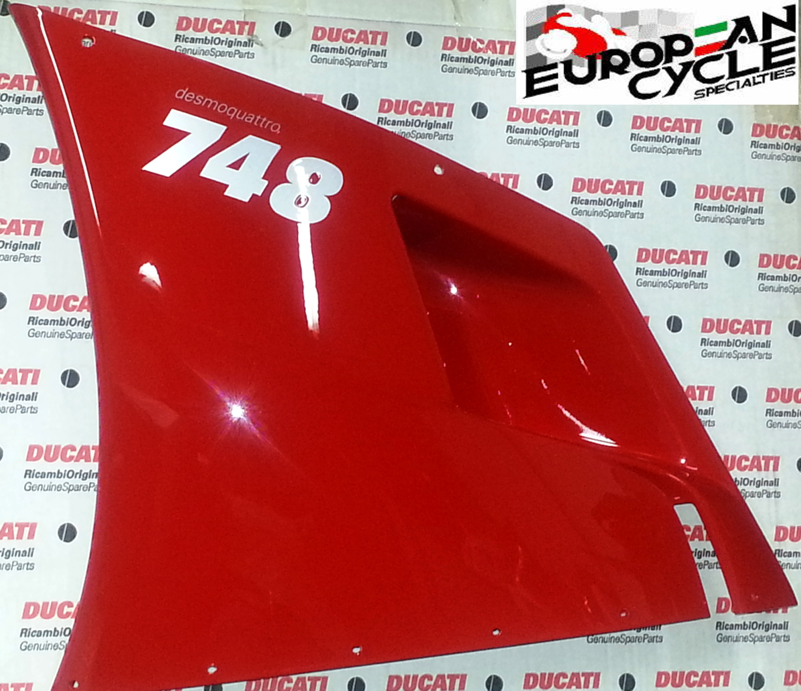 OEM Ducati 748 left upper fairing in red with silver 748 lettering 48010391EA