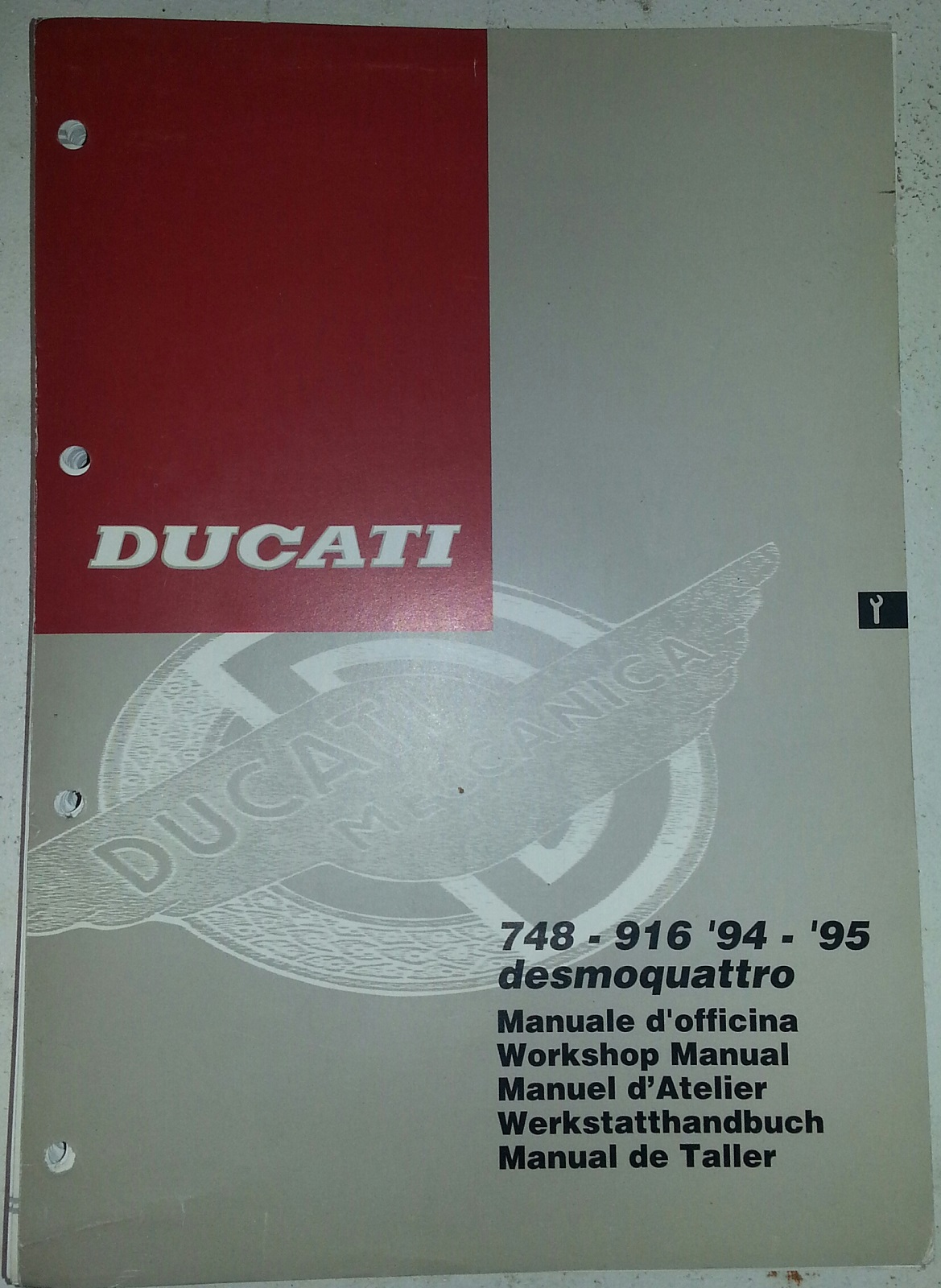 Ducati OEM 748-916 Workshop Manual 91470151A. Monster 900 900ie 1000 S2R S4