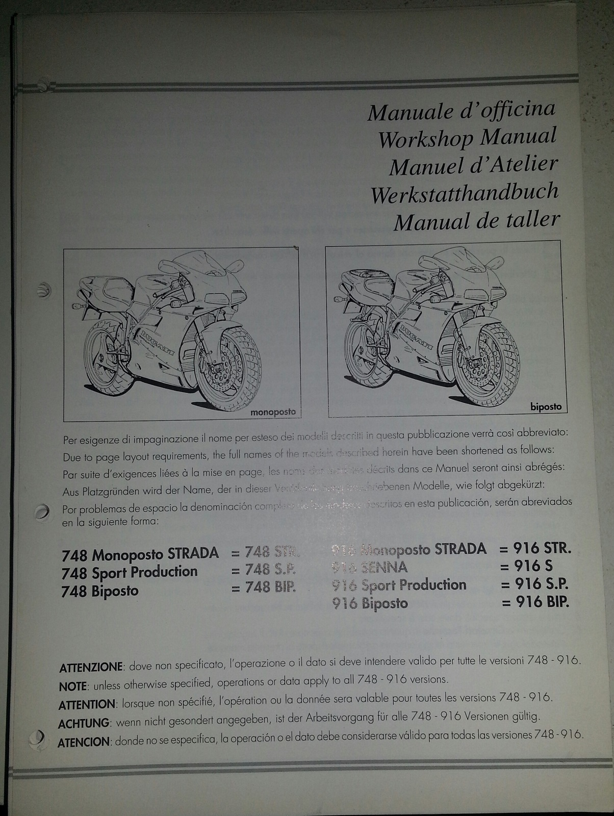 Ducati OEM 748-916 Workshop Manual 91470151A
